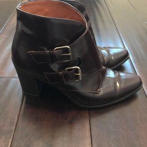 Madewell Monk Strap Heeled Boots Burgundy 7 EUC